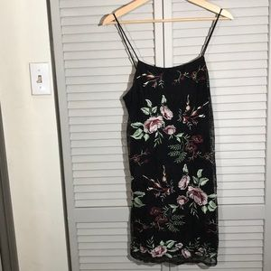 ASTR small black lace mini dress w  embroidery